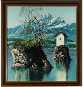 J-Travnik-Signed-and-Framed-1953-Oil-Alpine-Lake-Scene