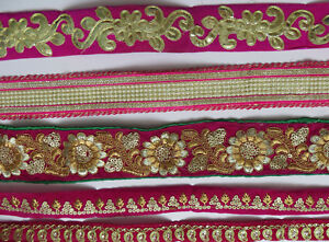 Sequin Bead Embroidery Indian Sari Border Lace Ribbon Trim Ethnic Craft 1 Feet