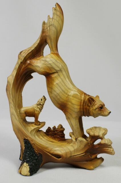 FAUX WOOD CARVING HOWLING WOLF FIGURE Statue NEW Wildlife Wolf Dog Husky Wolves