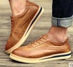 New-Men-039-s-Casual-Retro-Vintage-Richelieu-a-Wing-Tip-Lacets-Casual-Chaussures-Oxford-2019