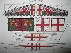 3 15mm Renaissance Early Tudor  Paper Flags Henry VIII