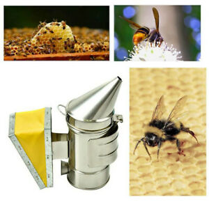 Steel Beekeeping Smoker Manual Bee Smoke Maker Tool Supplies With Hook