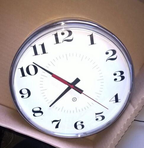"Peter Pepper 300PH-13 10/"" Wall Clock Round Chrome Metallic bezel Vintage product"