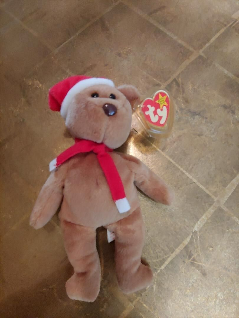 1997 Teddy Beanie w Santa Hat, Home for the Holidays. Tan in color, Brown Nose