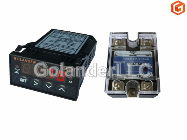 Universal 1/32DIN PID Temperature Controller, Red + 25A SSR