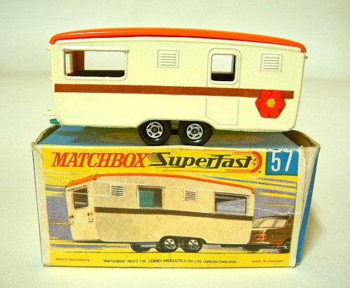 Matchbox SF Nr.57B Eccles Trailer Caravan creme  Streifen    top in Box 5805a9