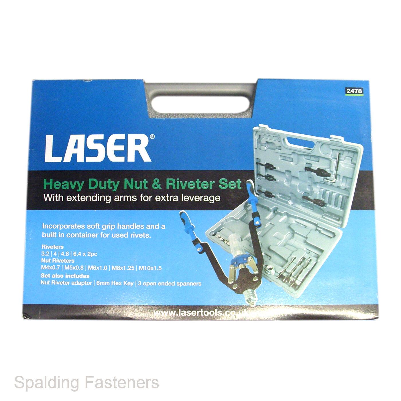 Laser Heavy Duty Nut & Riveter Set - 3.2 To 6.4mm Rivets & M4 To M10 Nut Rivets