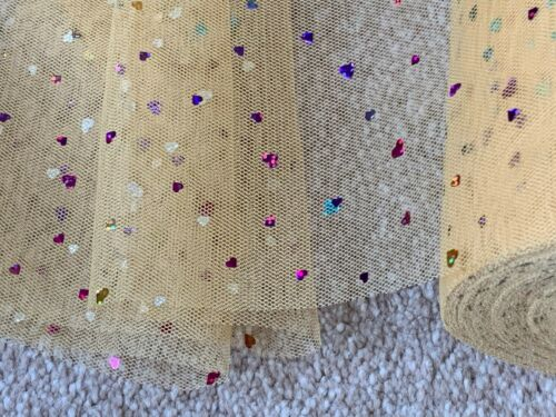 9 m de 150 mm Large Soft NYLON Or Coeurs Tulle Net Mariage//Tutu//CRAFT//Noël