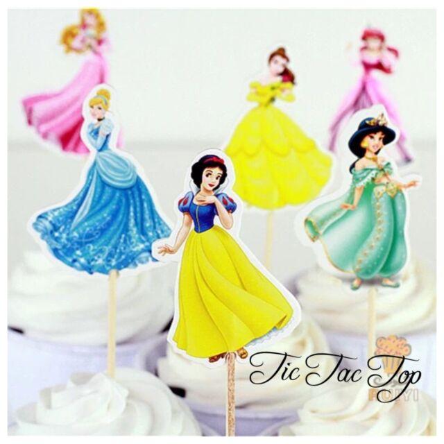 Surprising 12X 6 Disney Princesses Birthday Cupcake Cake Topper Girls Party Funny Birthday Cards Online Inifodamsfinfo