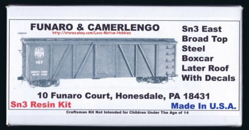 LMH Funaro F&C 219 Sn3 EAST BROAD TOP Steel Boxcar EBT Later Roof White Decals