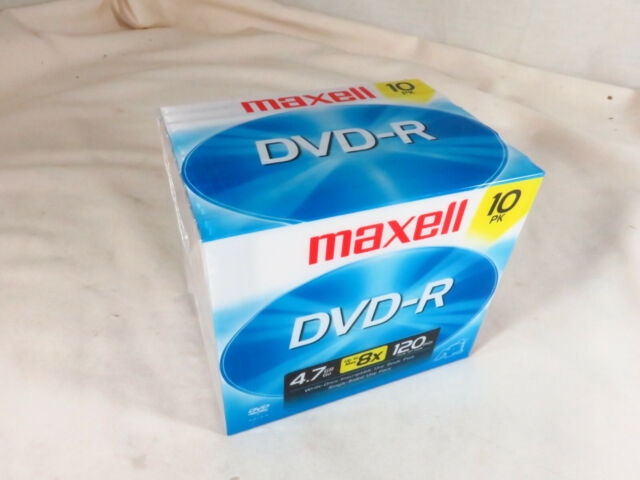 Maxell DVD-R Discs 4.7GB 8X Spindle 120 min 10 Pack NEW w/ full sized jewel case