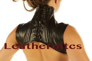 Echtes-Leder-Extreme-Schulterkorsett-Hals-Korsett-Harness-Binder