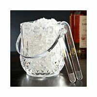 Mini Travel Size Acrylic Ice Bucket Bar Tong Container Plastic Wine Cooler