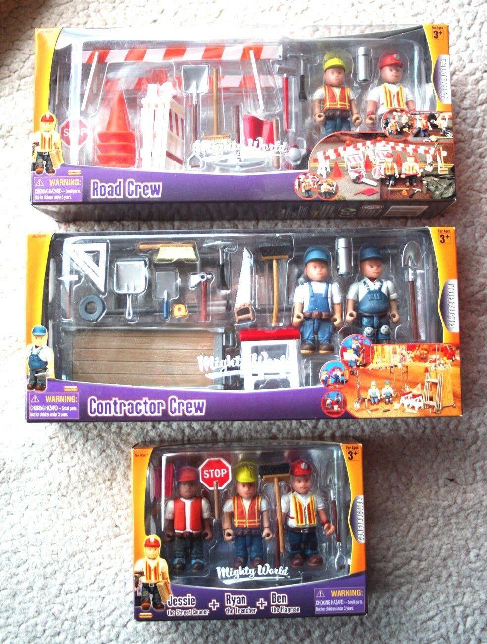 LOT 3 MIGHTY WORLD  CONSTRUCTION (ROAD & CONTRACTOR CREWS). BRAND NEW IN BOXES