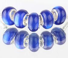 5PCS SILVER MURANO Cat's Eye BEAD Fit European Charm Bracelet Making #B491