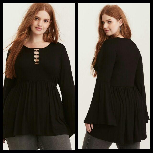 0e3db2d005f39 NWT Torrid Women's O-Ring Babydoll Tunic Top Black Plus Size 2 2X (104