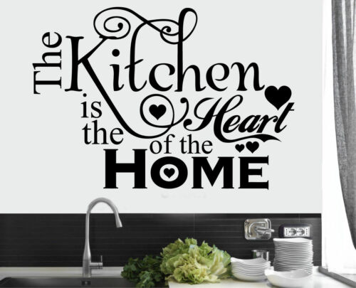 NEW Kitchen Heart Home Quote Wall Stickers Art Dining Room Removable 42 x 29cm