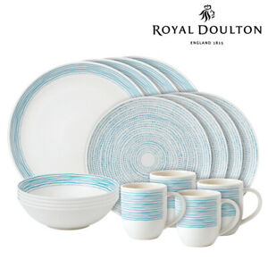 New Royal Doulton ED Ellen DeGeneres 16pc Polar Blue Dots Dinner | Set of 16