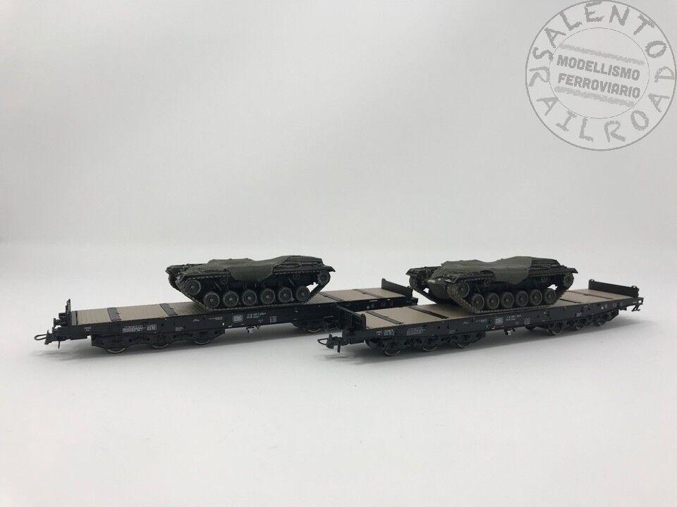 ROCO 76161 conjunto de dos vagónes DB carga 6 ejes con carro armado - 1 87