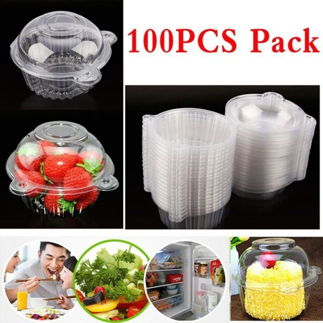 100x Plastic Single Cupcake Cake Case Muffin Pod Dome Holder Box Container n