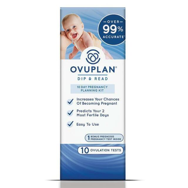 OVUPLAN DIP & READ 10 DAY PREGNANCY PLANNING KIT 10 OVULATION TESTS + BONUS TEST
