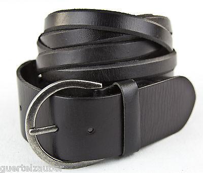 Damengürtel mit Flechtdesign BELT braided schwarz Echtes Leder