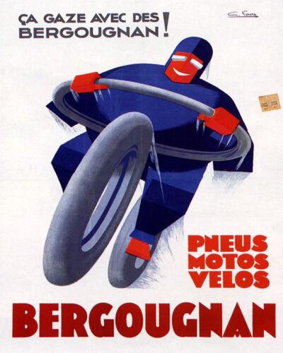 POSTER  BERGOUGNAN MOTORCYCLE BIKE TIRES PNEUS FRENCH VINTAGE REPRO FREE S//H
