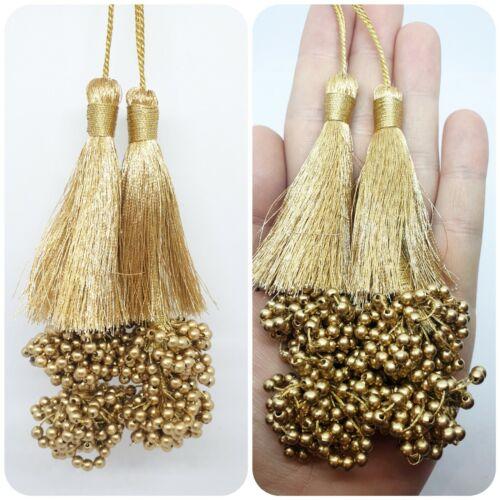 1 Pair Indian Golden Cluster Bead Tassel Latkan Sari Blouse Dupatta