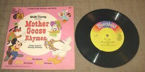 "1966 MOTHER GOOSE RHYMES Book & Record Set - Disneyland 33&1/3 7"" Record"
