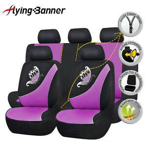 Image Is Loading Car Seat Covers Ladies Butterfly Elegent Purple Auto
