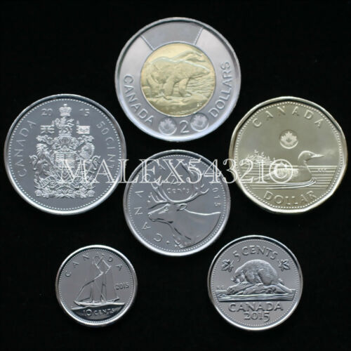 CANADA 2015 COMPLETE COIN SET 5 CENTS TO 2 DOLLARS UNCIRCULATED 6 COINS
