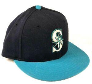 New-Era-pro-Modelo-Seattle-Marineros-Entallado-Gorro-Negro-Verde-90s-Vintage