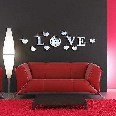 DIY Silver Acrylic Mirror Effect Clock Wall Sticker LOVE Clock Movement