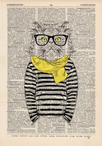 Mürrische Katze Stripes Wörterbuch Kunstdruck Wandbild Weinlese-Tier in Kleidung