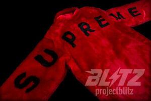 db02025c SUPREME FAUX FUR BOMBER JACKET RED S M L XL SS17 2017 BLACK RARE ...