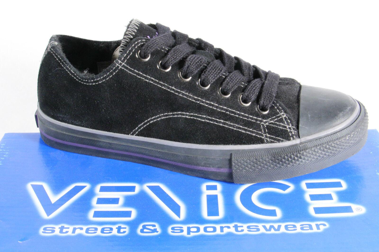 Venice Zapatos de Cordones Zapatillas Zapatilla Deportiva Forrado Negro Suela