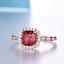 1-6ct-Cushion-Cut-Red-Garnet-Engagement-Ring-Diamond-Halo-14k-Rose-Gold-Finish thumbnail 2