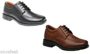 Mens-HUSH-PUPPIES-Rochester-Black-Cognac-EXTRA-WIDE-WORK-LEATHER-SHOES-CHEAP