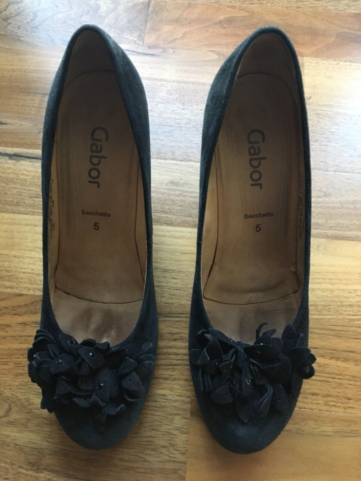 Gabor zapatos talla talla talla 5 Negro Corte tribunales Gamuza Tacón Alto Mujer-Excelente Estado  mas barato