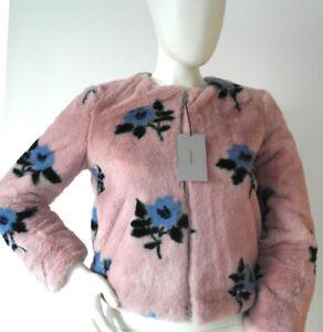 Venta-nuevo-Zara-Piel-Sintetica-Chaqueta-Corta-Floral-Rosa-Talla-XS-6-8