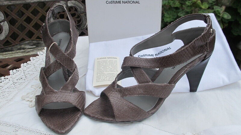 CNC COSTUME NATIONAL Italian grey reptile leather SHOES sandals 38 uk5  bnib