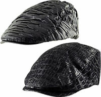 Faux Leather Cabbie Newsboy Gatsby Country Golf Ivy Baker Boy Lined Flat Cap Hat