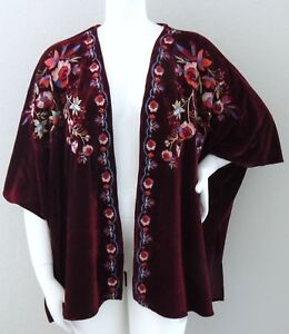8341227f1fd Image is loading Umgee-Embroidered-Floral-Dolman-Velvet-Kimono-Jacket-Wine-