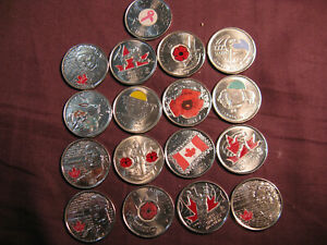 Canada-Coloured-Coins-Fabulous-Set-Of-17-Commemorative-Coloured-25-Cent-Coins
