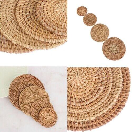 Round Natural Rattan Placemats Bowl Pad Insulation Mats Hot Tea Coasters Kitchen