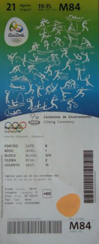 TICKET A 21//8//2016 Olympia Rio Olympic Games Closing Ceremony # M84