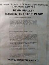 David Bradley Sears Walk Behind Tractor 91757552 Turn Plow Owner Amp Parts Manual
