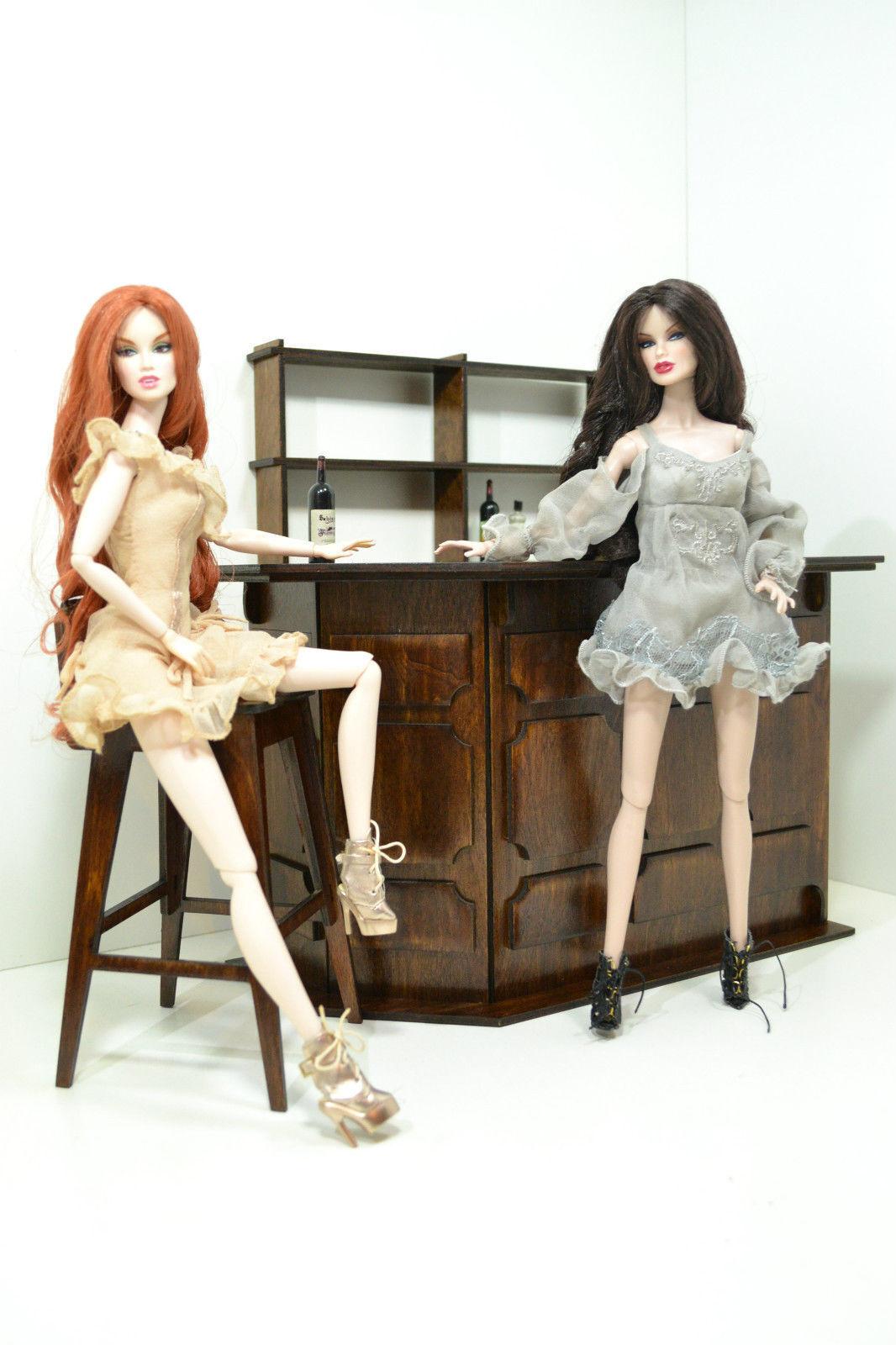Nuevo Conjunto de muebles para muñecas Bar 12 en 1 6 FR Barbie De Madera Pub Restaurante Raro