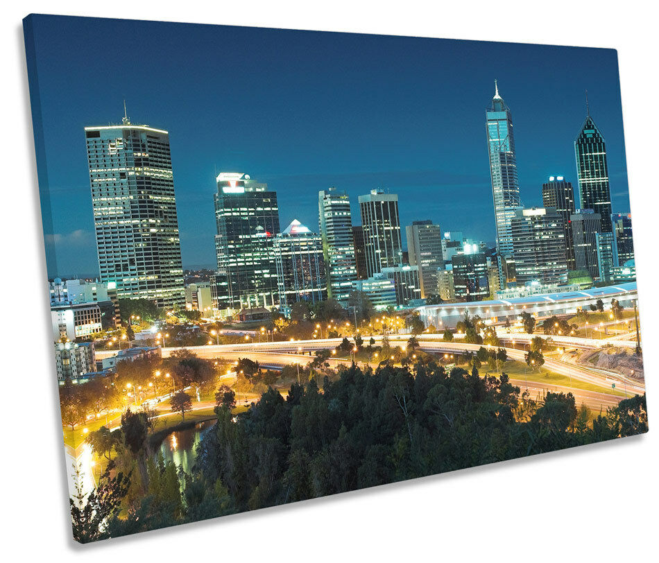 Perth Australia City Skyline SINGLE CANVAS WALL ART Box Framed
