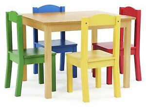 Attirant Tot Tutors Kids Wood Table And 4 Chairs Set Natural/primary Primary  Collection